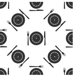 plate with clock fork and knife icon lunch time vector image vector image