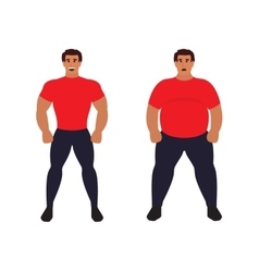 Fat vs slim man Healthy Sport athletic body vector image vector image