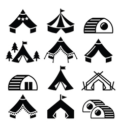 Glamping luxurious camping tents and bambu houses vector image vector image