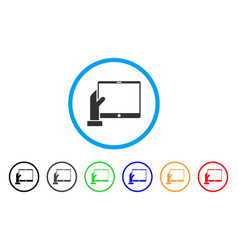 Hand holds pda rounded icon vector