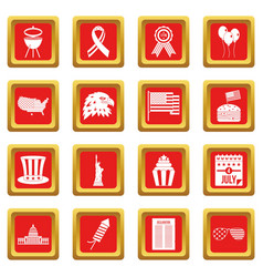 Independence day flag icons set red vector