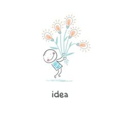 A man holding a bouquet of light bulbs Concept vector image