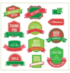 Christmas set - labels tags and decorative vector image vector image