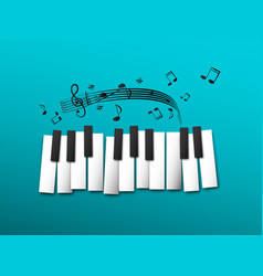 piano keys music notes on blue background vector image