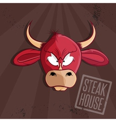 steak house with bull head vector image
