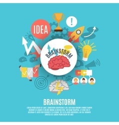 Flat Poster With Brainstorm Icons vector image vector image