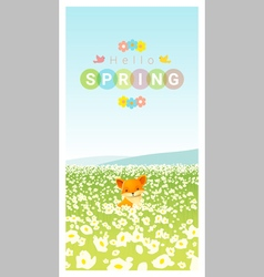 Hello spring landscape background with fox vector image