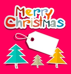 Merry Christmas Colorful Paper Cut Title with vector image vector image