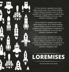 rockets shuttle and spaceships poster or vector image