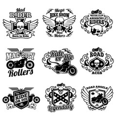 vintage motorcycle labels motorbike retro vector image vector image