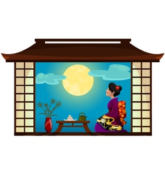 woman watching the moon vector image vector image