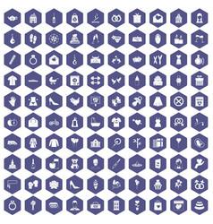 100 woman happy icons hexagon purple vector