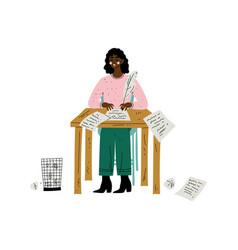 African american female writer or poetess vector