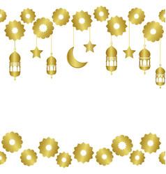 arabic golden seamless pattern wiht half moon and vector image