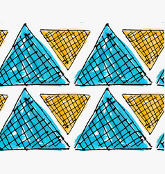 Artistic color brushed orange and blue triangles vector