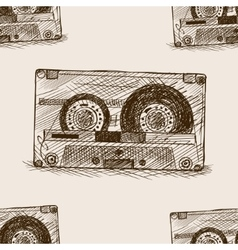 Audio cassette sketch seamless pattern vector image