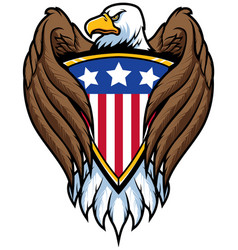 Bald eagle holding shield vector