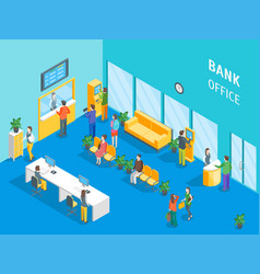bank office interior with furniture and people vector image