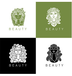 beauty salon spa logo female face vector image