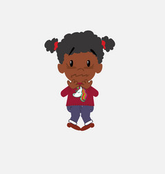 Black girl with a unicorn pullover shrugged in vector