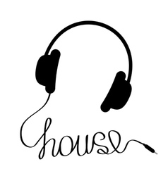 Black headphones with cord in shape word house vector