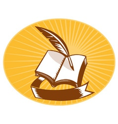 Book with quill pen and scroll vector