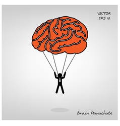 Brain parachute with businessman on background vector