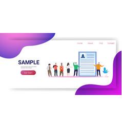 businesspeople candidates standing in line queue vector image