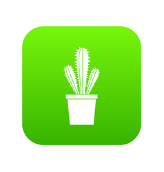Cactus in flower pot icon digital green vector