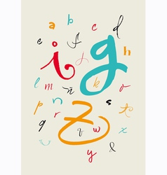 Calligraphic hand written lowercase alphabet vector