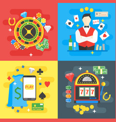 casino card set symbol gambling game vector image