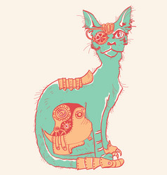 Cat with mechanical parts of body hand drawn vector