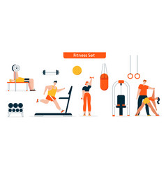 character fitness in gym set vector image