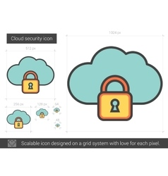 Cloud security line icon vector