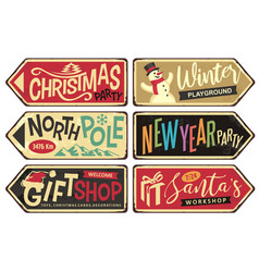 Collection holiday christmas sign posts vector