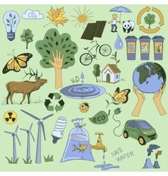 Colored Ecology and recycle doodle icons set vector