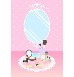Cosmetics on lace mat and mirror on pink polka dot vector