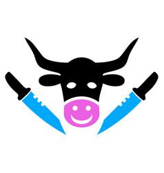 cow butchery icon vector image