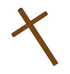 Cross wooden symbol vector