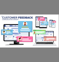 Customer review page on computer monitor laptop vector