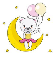 cute bear sitting on the moon vector image