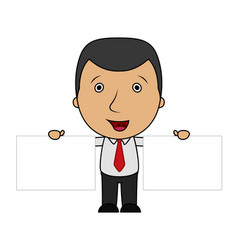 cute cartoon businessman holding two blank sign vector image