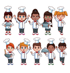 Cute chef kids cartoons vector