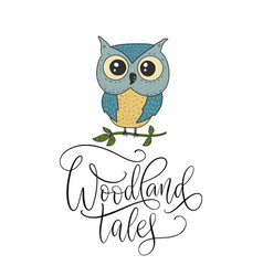 cute hand drawn card with little owl and vector image