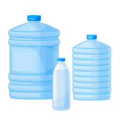 Drinking water poured in plastic bottles vector