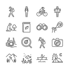 Eco tourism line icon set vector