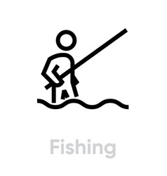 fishing activity icon vector image