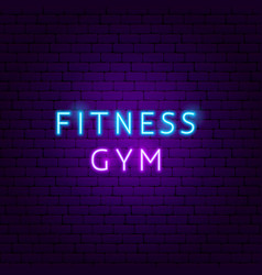 fitness gym neon text vector image