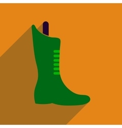 Flat icon with long shadow boots lacing vector