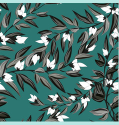 floral seamless pattern blooming white flowers vector image